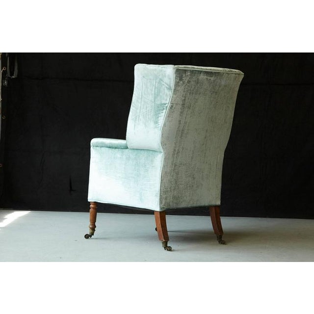 Early 19th Century 19th Century Hepplewhite Mahogany Wingback Chair in Silver Striae Velvet For Sale - Image 5 of 9
