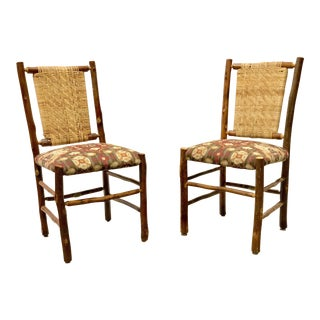 1960s Boho Chic Old Hickory Furniture Tavern Chairs - a Pair