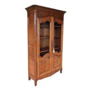 French 20th Century Louis XV Style Walnut 2 Door Armoire Cabinet Linen Closet For Sale
