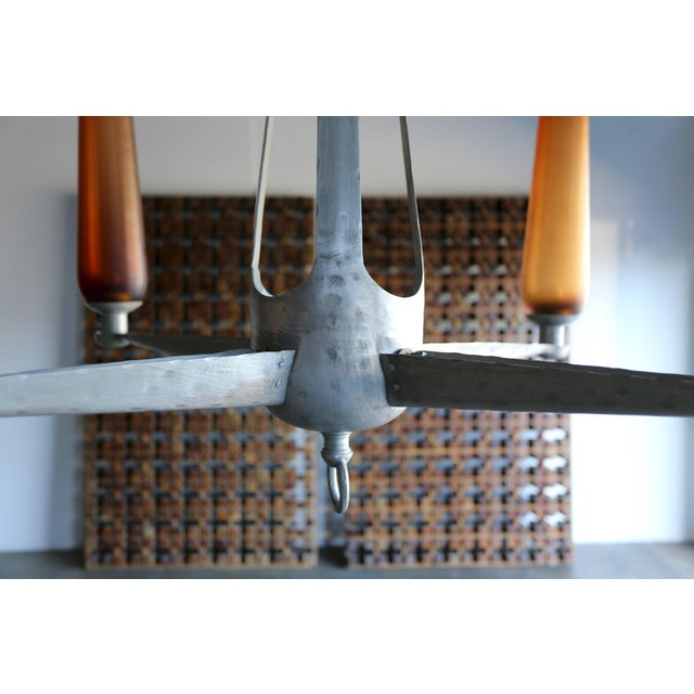 Mid 20th Century 1960s Mid-Century Modern Aluminum and Venini Glass Chandelier For Sale - Image 5 of 9