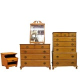 Image of Vintage Beals Maine Rock Maple Bedroom Set With Dresser Chest Mirror & Nightstand - Set of 4 For Sale
