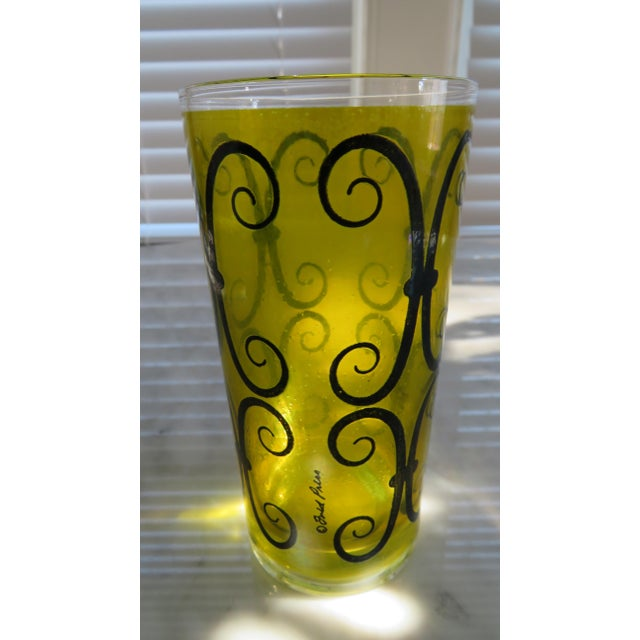 Fred Press Chartreuse Mid-Century Tumblers W/ Metal Carrier - Image 6 of 6