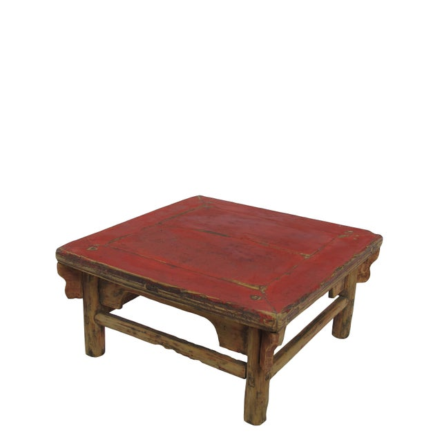 Asian 1916 Antique Chinese Low Red Accent Table For Sale - Image 3 of 5