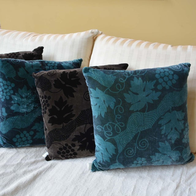 French Artist Hand-Dyed Cushions Teal Front Coordinating Blue Green Back For Sale - Image 3 of 5