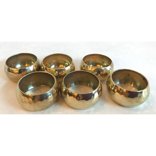 Vintage Brass Hammered Napkin Rings - Set of 6 For Sale - Image 4 of 8
