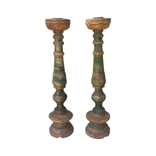 Italian Painted Candle Holders - A Pair - Image 1 of 7