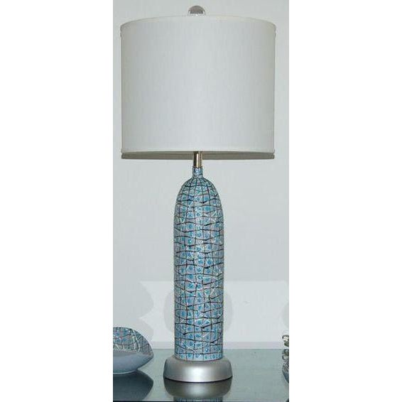 Italian Marbro Italian Ceramic Table Lamps and Bowls Blue For Sale - Image 3 of 12