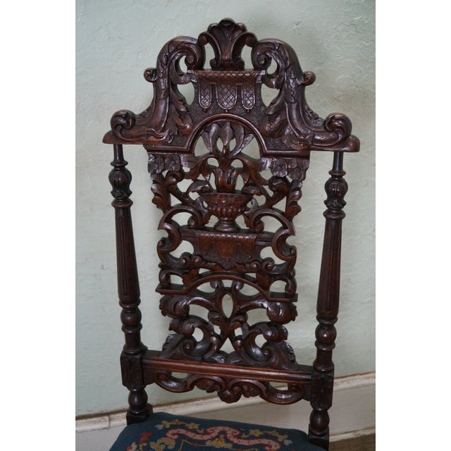 Antique Carved Renaissance Highback Side Chair For Sale - Image 5 of 10