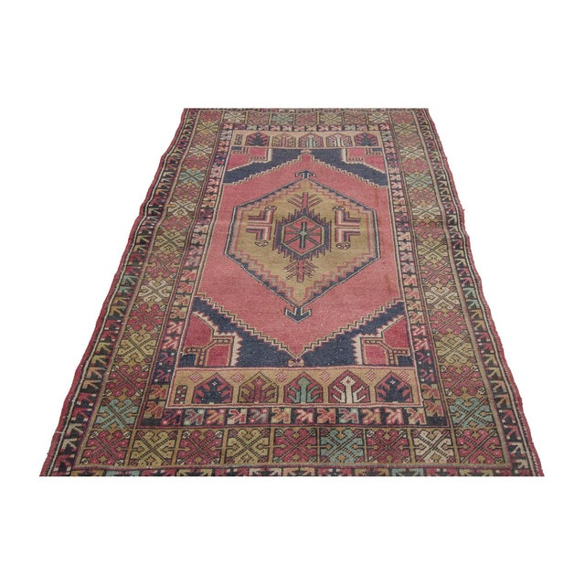 Handknotted decorative vintage rug from Konya region of Turkey. Approximately 50-60 years old. In very good condition