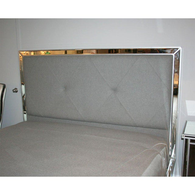 Venfield Custom Mirrored Bed with Silver Trim Detailing For Sale - Image 4 of 6