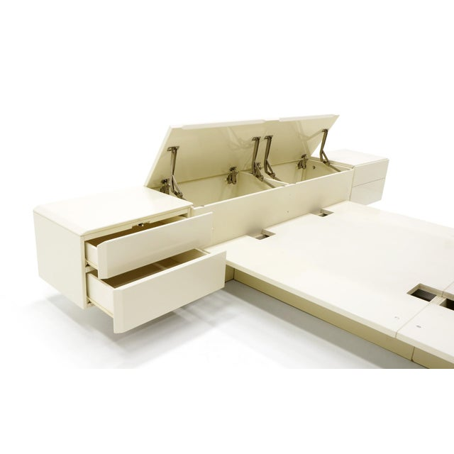 Rougier Queen Ivory Platform Bed with Attached Nightstands & Headboard Storage, Rougier For Sale - Image 4 of 11