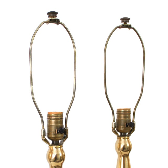 Mid-Century Modern Teak & Brass Lamps - A Pair For Sale - Image 9 of 10