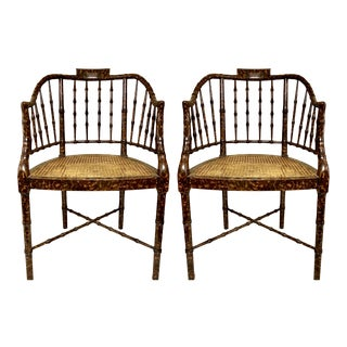 Baker Furniture Faux Tortoise Barrel Back Chairs-Pair For Sale