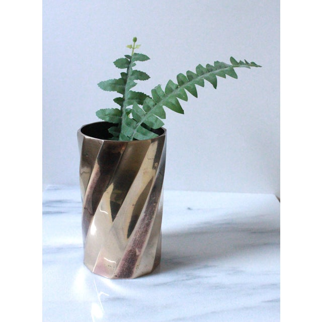 Solid Brass Cylinder Vase With Twist Design - Image 3 of 5