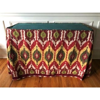 Boho Chic Bold Custom Made Ikat Fabric Table Cover Preview