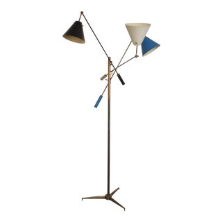 "1960s Original Arredoluce ""Triennale"" Three Arm Floor Lamp For Sale"