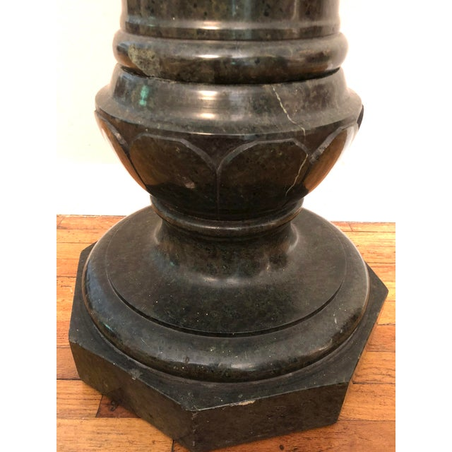 20th Century Italian Neoclassical Dark Green Marble Pedestal Stand For Sale In New York - Image 6 of 10