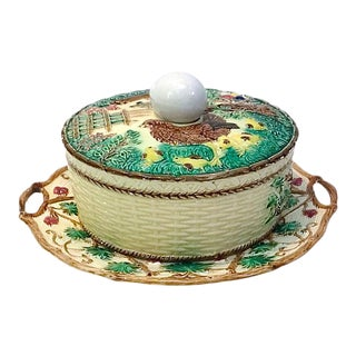 Antique Majolica French Green Tureen