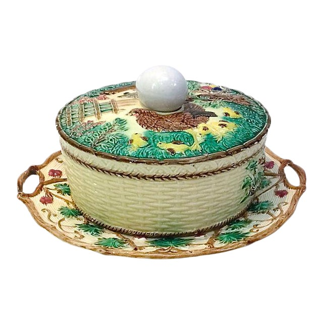 Antique Majolica French Green Tureen For Sale
