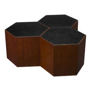 Scarborough House Walnut Hexagons Cocktail Table For Sale