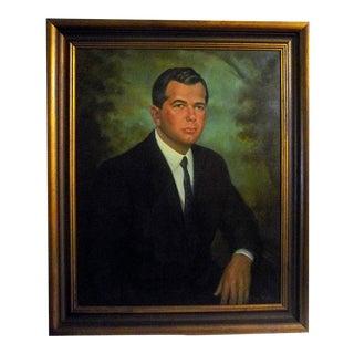 George Mandus, Georgia Artist, Large Portrait Oil Painting on Canvas 1924 - 2012 For Sale