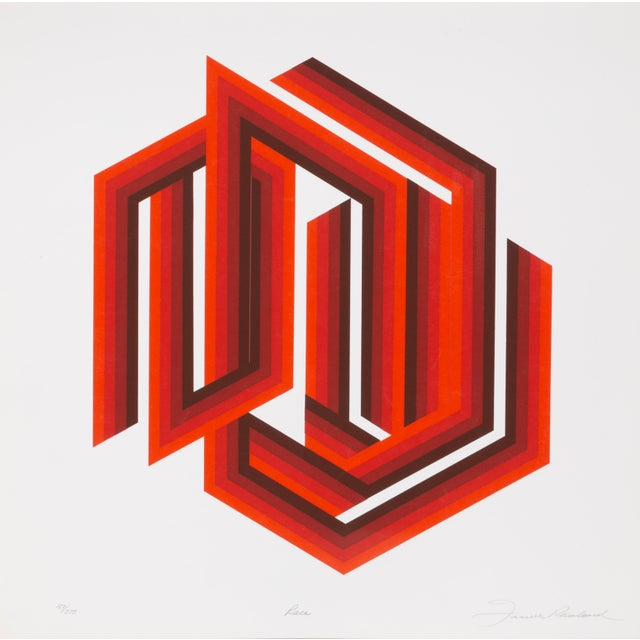 Printmaking Materials Frank Rowland, Race, Abstract Op Art Screenprint For Sale - Image 7 of 7
