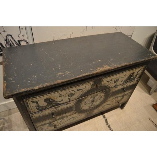 19th Century Antique Chest With New Paint From Spain For Sale - Image 5 of 13