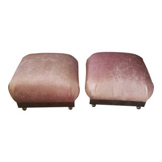 1980s Vintage Karl Springer Style Souffle Poufs- A Pair For Sale