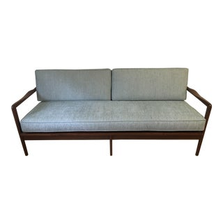 Mid-Century Modern Blue Teak Sofa For Sale