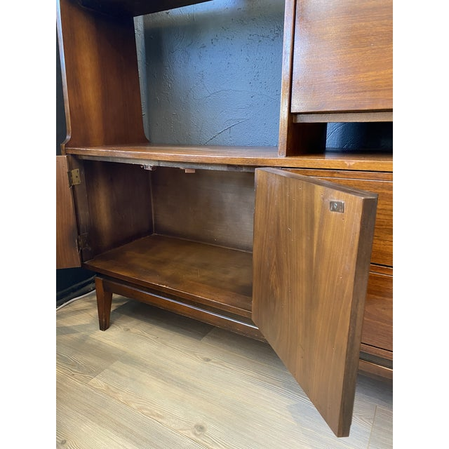 Wood Mid-Century Modern Danish Bookcase With Secretary Desk For Sale - Image 7 of 11