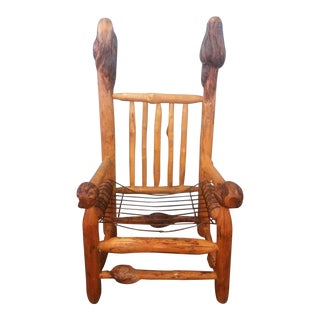Vintage Hand Crafted Organic Burlwood Chair For Sale
