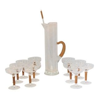 Mid-Century Carl Aubock Rattan Wrapped Cocktail Pitcher Stirrer and Matching Glasses - Set of 13 For Sale