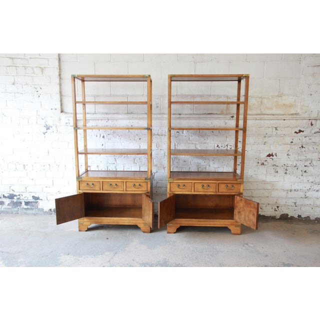 Baker Furniture Company Michael Taylor for Baker Far East Collection Burl Wood Wall Units, Pair For Sale - Image 4 of 13