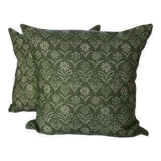 "Lisa Fine Green ""Paradeiza"" Pillows- Pair For Sale"