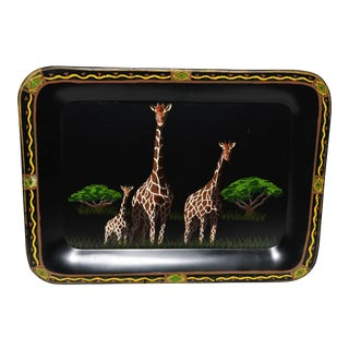 1990s Metal Painted Giraffe Tray For Sale