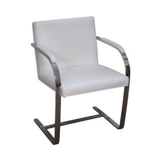 Brno Flat Bar Chrome Steel Frame White Leather Arm Chair