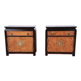 Century Furniture Black Lacquer and Burl Wood Hollywood Regency Chinoiserie Nightstands, Pair For Sale