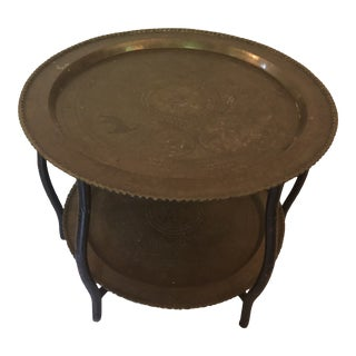 1950s Asian Antique Brass Side Table For Sale