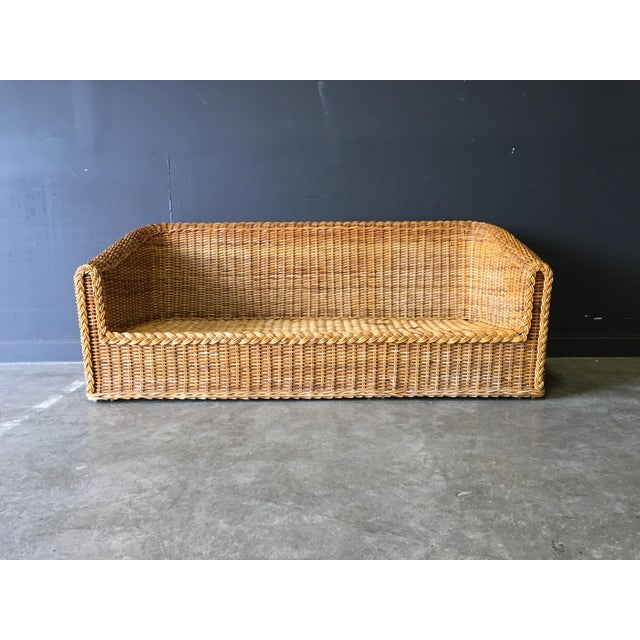 Vintage Mid-Century Modern Wicker Sofa For Sale - Image 12 of 12