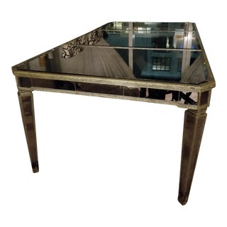 Mirrored Antiqued Silver Dining Table For Sale