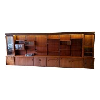 Mid-Century Modern Modular Teak Wall Shelving Cabinet Unit