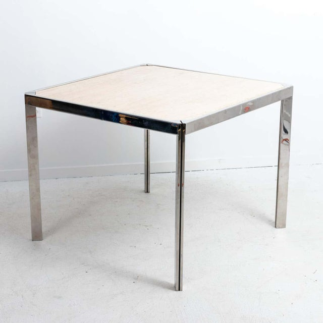 Metal 20th Century Travertine and Nickel Dining/Games Table For Sale - Image 7 of 10