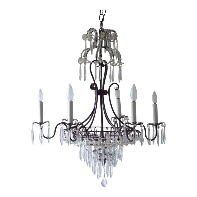 French Tole & Crystal Chandelier For Sale