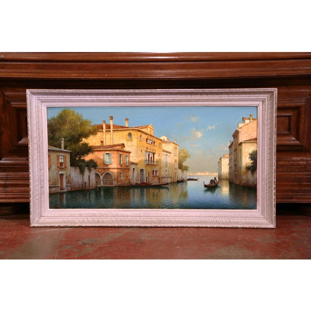 Early 20th Century French Venice Framed Oil Painting Signed Alphonse Lecoz For Sale - Image 11 of 11