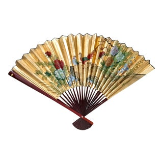 Chinese Hand Painted Gold Leaf Folding Fan Wall Hanging For Sale