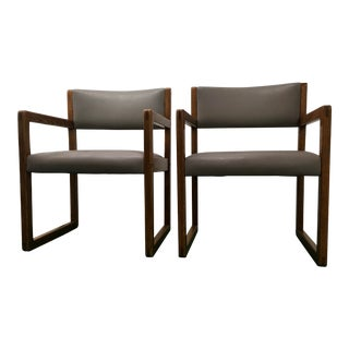 Danish-Modern Tiger-Oak Box Chairs W/Sled Base - a Pair For Sale