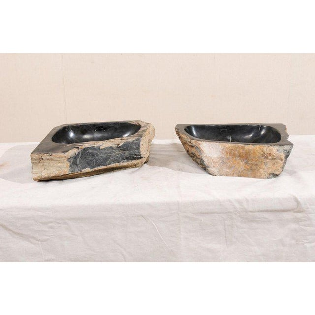 Black and Tan Polished Petrified Wood Sink For Sale - Image 11 of 12