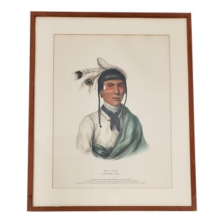 """McKenney and Hall """"No-Tin, a Chippewa Chief"""" Hand Colored Lithograph C.1842 For Sale"""