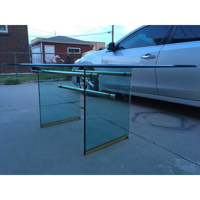 Glass and Brass Mid-Century Modern Dining Table by Pace For Sale - Image 13 of 13