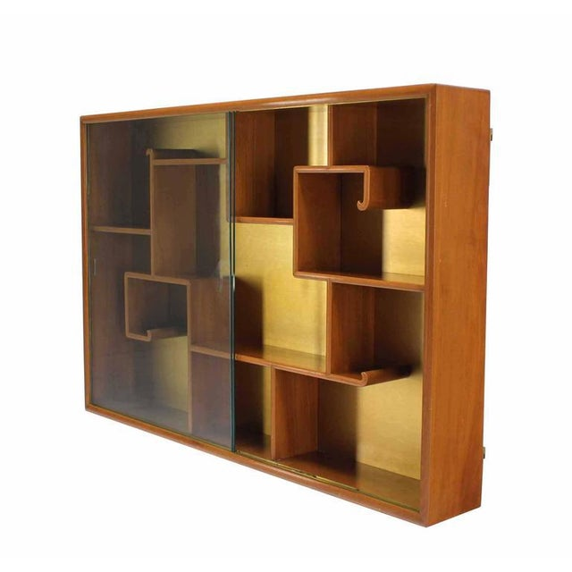 Oriental Asian inspired Hanging Bookcase Shelf w/ Glass Doors Solid Teak For Sale - Image 4 of 6